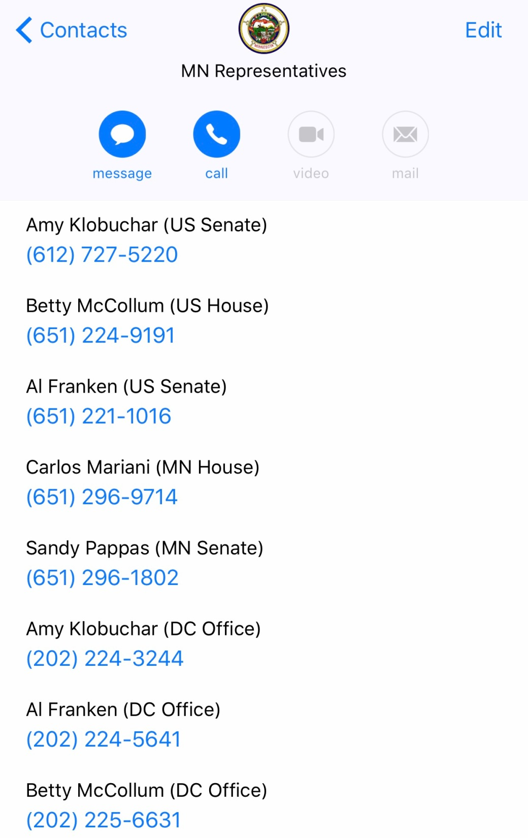 Timothy Pate How to Contact Your Representatives